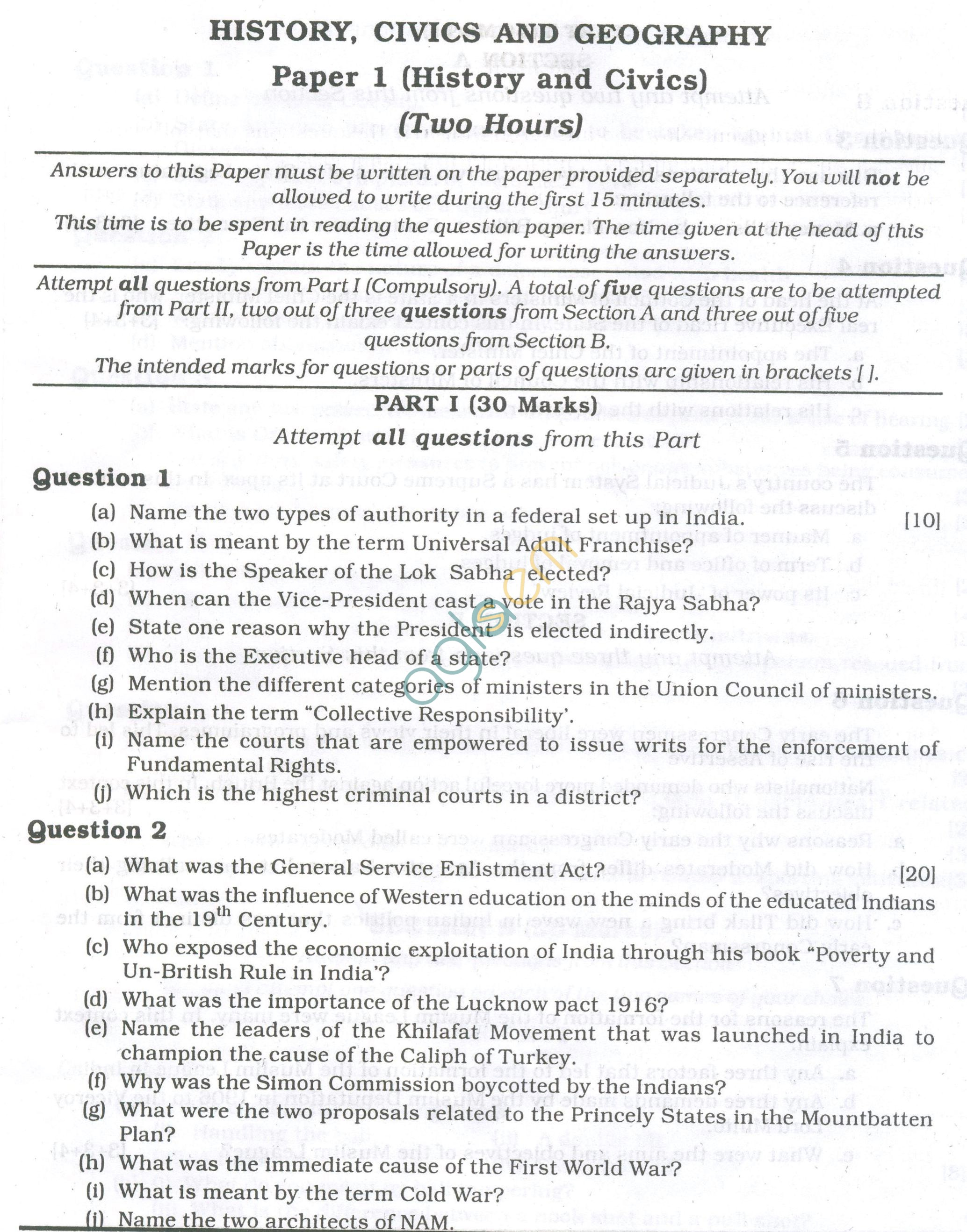 ICSE Question Papers 2013 for Class 10 - History & Civics