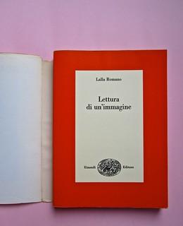 Lalla Romano, Lettura di un'immagine. Einaudi 1975. Responsabilità grafiche non indicate. Copertina (part.), 1