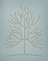 Family tree with names art light blue gray brown ancestry roots