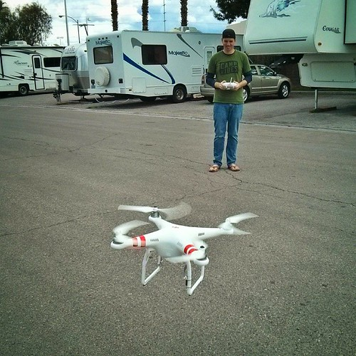 @worksology practice flying his new toy at our smokey and ugly little RV park in Vegas for the weekend.