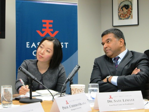 "East-West Center in Washington Director, Dr. Satu Limaye (right), and Dr. Madoka Fukuda, listen as their colleagues take a question from the floor. Dr. Fukuda and Mr Chihiro Okawa (not pictured) presented their respective research as part of the inaugural year of the ""Young Japanese Scholars/Experts Overseas Deployment Program."""