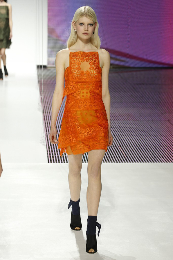 Orange Christian Dior embroidered organza scarf dress