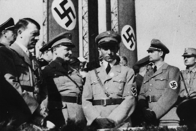 Adolf Hitler and leading figures of the Nazi Party. Richard Strauss was President of the Reichsmusikkammer. Author Unknown.