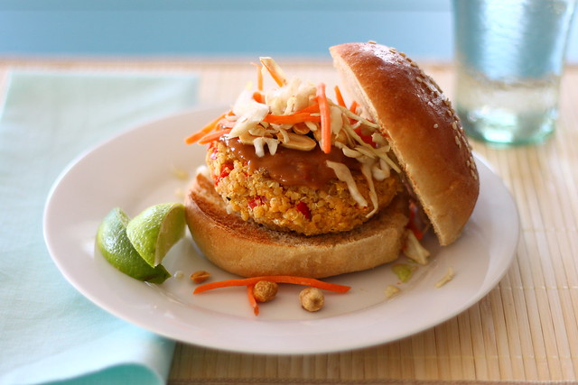 Thai veggie burgers with peanut sauce