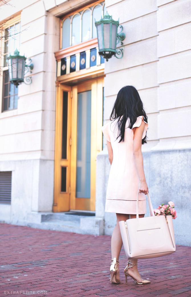 pink dress gold heels4