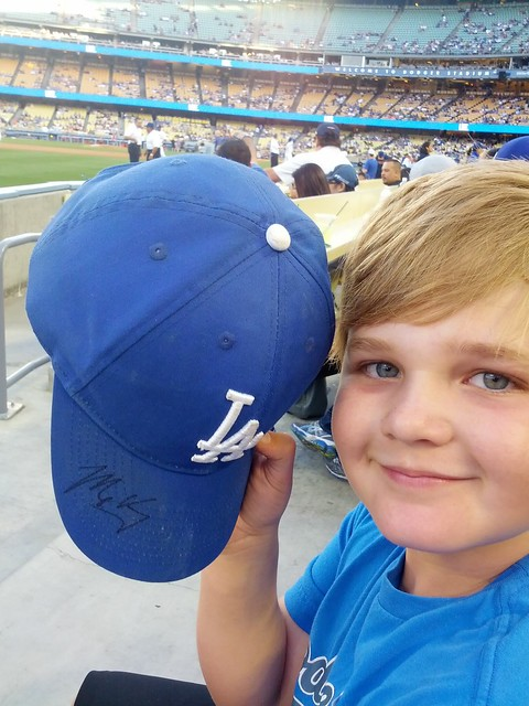 Dash and his freshly minted Matt Kemp-autographed hat!
