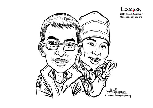 digital couple caricatures for Lexmark - Ken Zheng