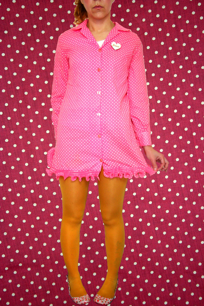 Vintage 60's dress - pink polkadots