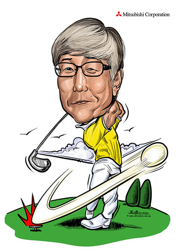 digital golfer caricature for Mitsubishi