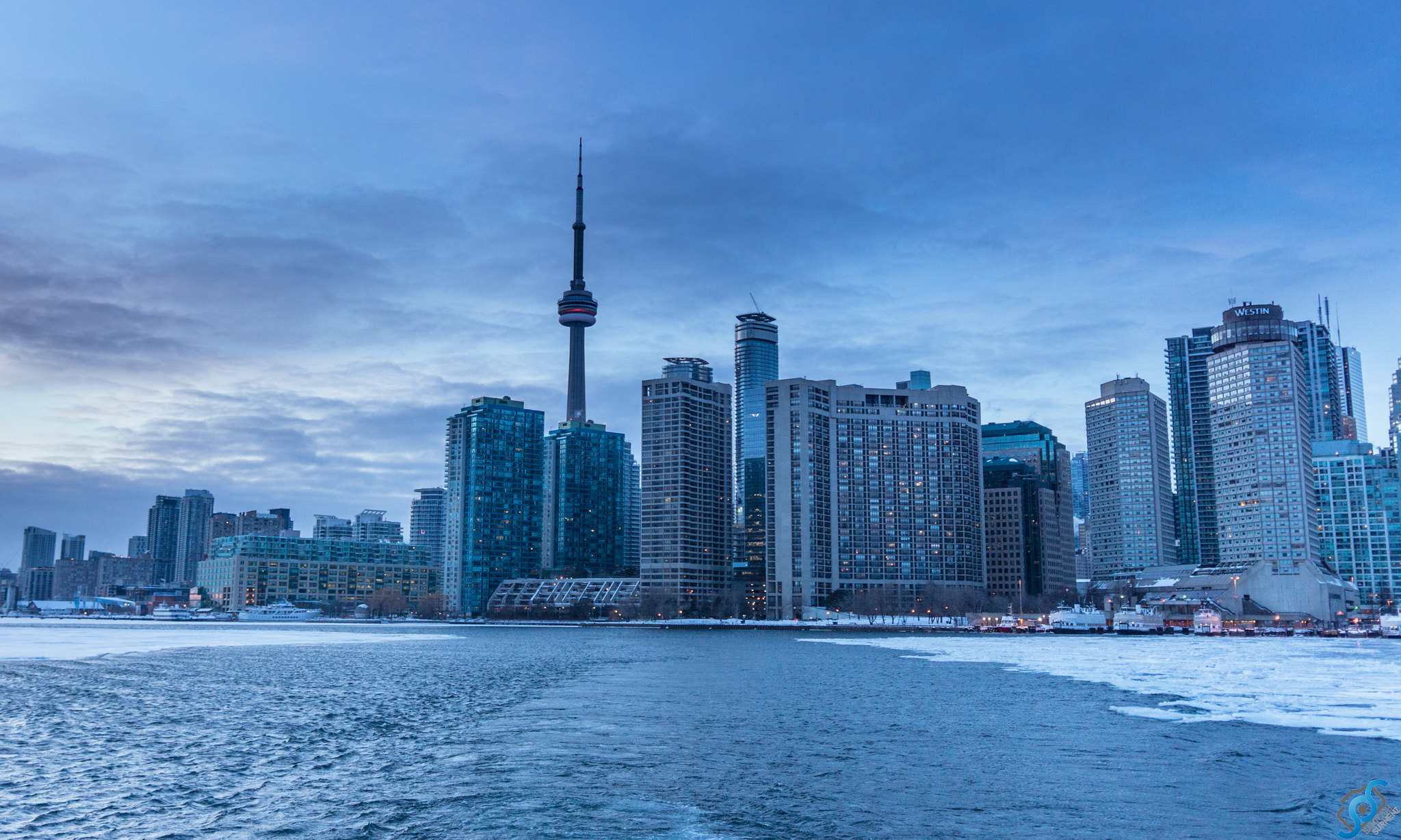 Toronto skyline captured from the ferry on frozen lake Ontario