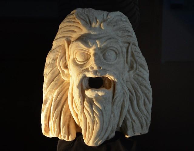 Marble mask of a satyr, 1st century AD, from Turris Libisonis, Antiquarium Turritano, Porto Torres, Sardinia