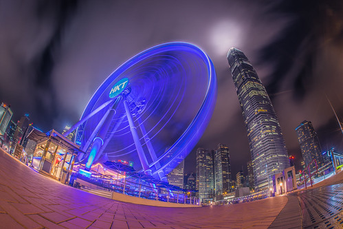 longexposure night hongkong central fisheye ferriswheel thehongkongobservationwheel