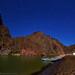 "Grand Canyon river camp by moonlight and stars by IronRodArt - Royce Bair (""Star Shooter"")"