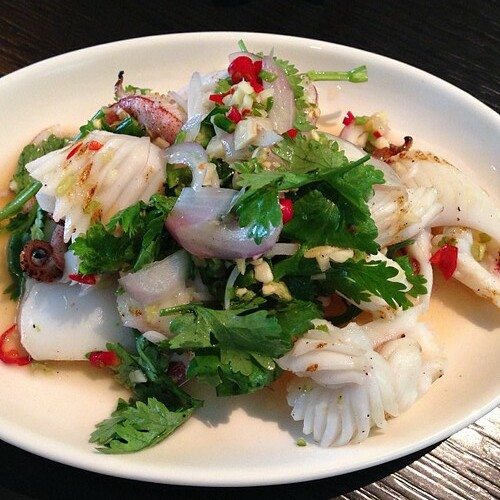 Pla Mauk Yung: Flash grilled squid & coriander salad dressed with green chili & lime. #thaifood #foodporn