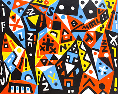 """Painting by A.R. Penck (Ralf Winkler): City of Memories, 2005 (Acrylic on canvas)"" / Michael Werner Gallery / Art Basel Hong Kong 2013 / SML.20130523.6D.13897"