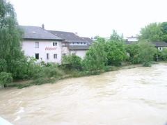 Trostberg-Hochwasser Alz-Juni 2013 von der Stadtbrücke aus gesehen