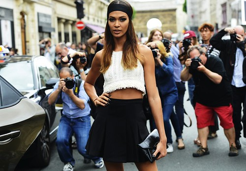 Joan Smalls, model, crop top, fashion blog