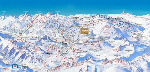 Lech Zürs - mapa sjezdovek