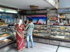 Indian dairy sweet shop wares and counter