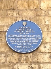 Photo of Albert Ball blue plaque