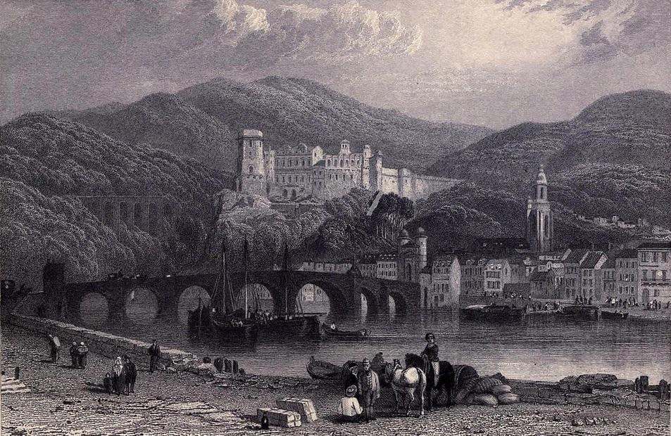 27. Otra vista Heidelberg y el río Neckar, afluente del Rin. Boceto de Clarkson Stanfield. 1833. Autor, Ayacata7