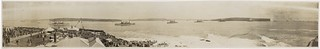 Arrival of the American Fleet at Sydney Australia, August 1908; [Sydney Harbour from North Sydney, c. 1915-1925] / panoramic photographs by Exchange Studios, 49 Pitt St. Sydney