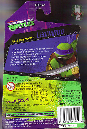 WICKED COOL TOYS :: Nickelodeon TEENAGE MUTANT NINJA TURTLES; 'WATER GROW TURTLES' - LEONARDO iii // ..card backer  (( 2013 ))