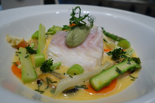 """Poached Cod flavoured with Tarragon with Summer Vegetables in Mussels and Tomato Broth. Osia """"Cooking with Friends"""" featuring Chef Geir Skeie & Chef Katrine Skeie"""