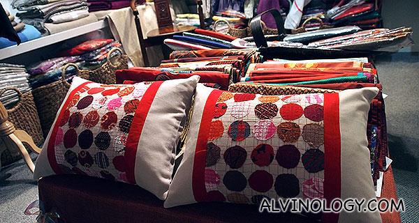 Cushion covers on display