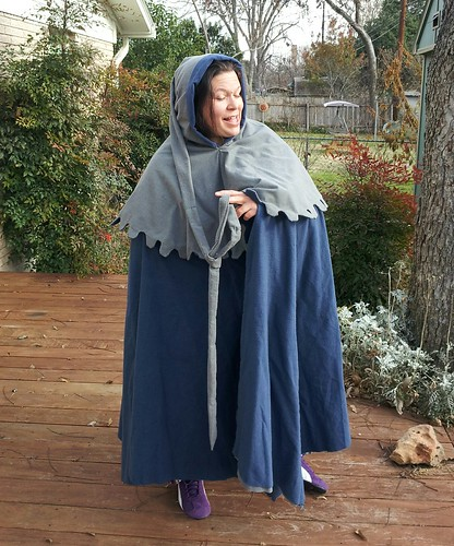 Rachel models cloak progress