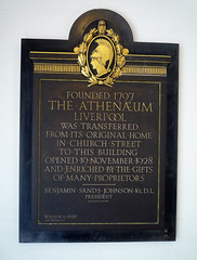 Photo of The Athenaeum, Liverpool black plaque