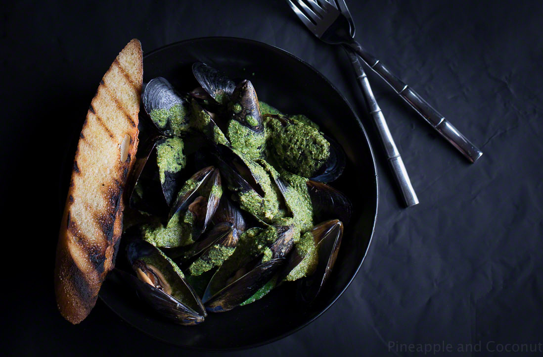 12898975734 13e0337ea3 o Steamed Mussels with White Wine Cilantro Pesto Sauce