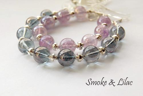 Smoke & Lilac Bracelets by gemwaithnia