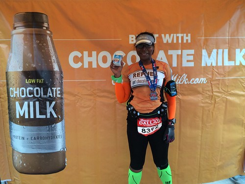 It's a PR: 2:12:20!  A minute and a half off my time. Had a great time with my Got Chocolate Milk Team.  I was happy in my #finishstrong moment, eh?