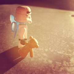 Waiting for the train #starwars #stormtrooper #teddy #lego #backlight #stockholm #fairy