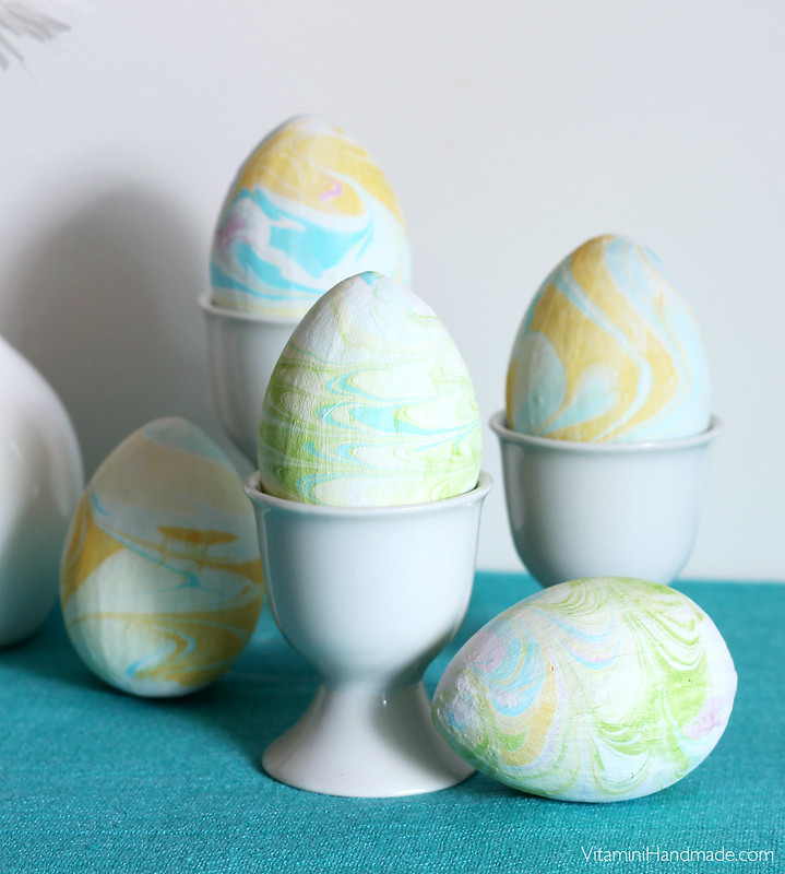 DIY Marbled Paper Mache Easter Eggs