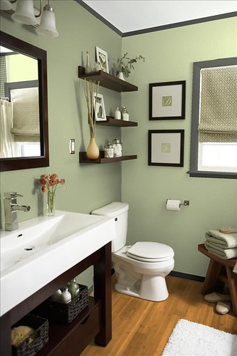 Guest bath archives just two crafty sistersjust two for Dark green bathroom accessories