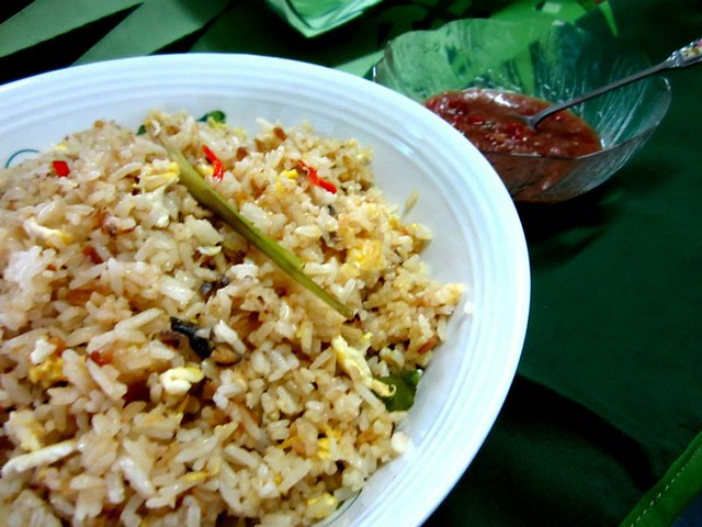 Salted fish fried rice with cincaluk dip