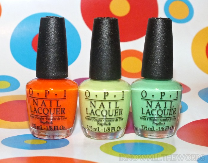 OPI Little Bits of Neon- Juice Bar Hopping, Life Gave Me Lemons, and You Are So Outta Lime