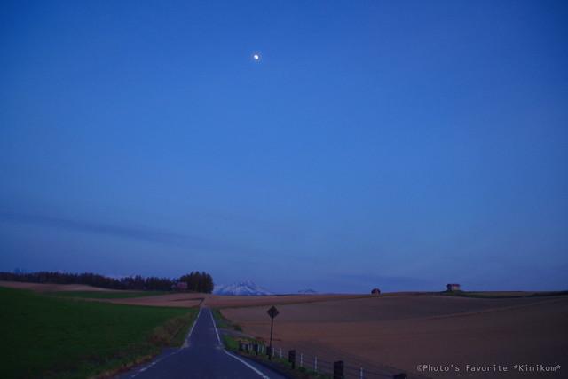 夕暮れ時の月