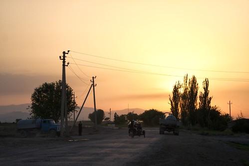 road sunset rural nikon turkmenistan d90 ashgabat