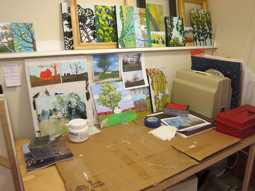 Straightened up work table in the studio