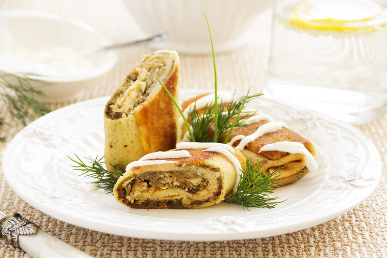Pancakes stuffed with liver and eggs.