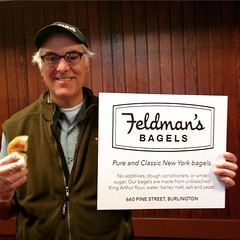 Mr. Feldman happily giving out samples at UVM's Hillel sponsored Bagel Fest!