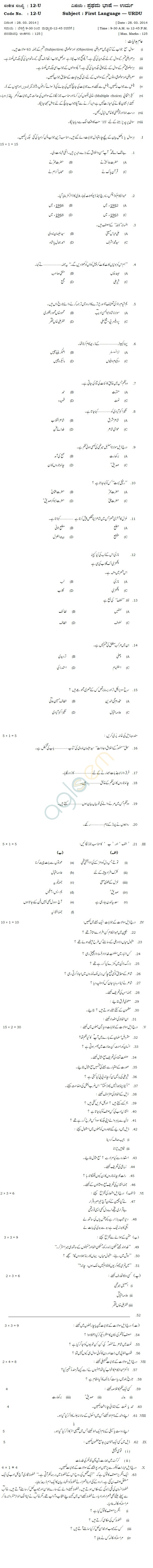 Karnataka SSLC Solved Question Paper April 2014 - Urdu