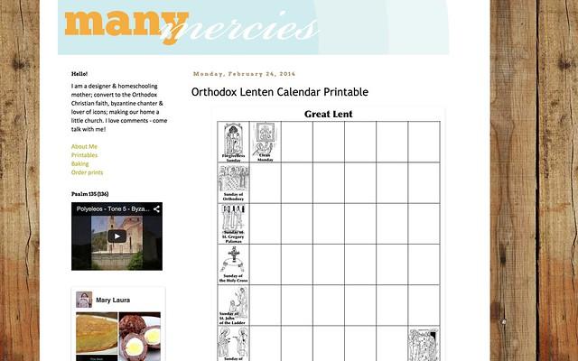 http://manymercies.blogspot.com/2014/02/orthodox-lenten-calendar-printable.html