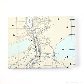 Niagra Falls nautical chart guestbook back cover handmade by bookbinder Ruth Bleakley