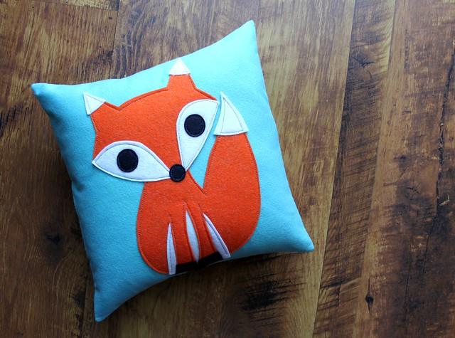 Fox Pillow in Aqua