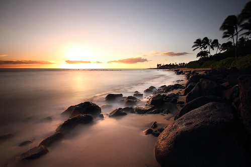 ocean longexposure sunset usa beach nature canon landscape island hawaii rocks pacific unitedstatesofamerica wideangle hawai t3i 600d kiahunabeach gsamie guillaumesamie