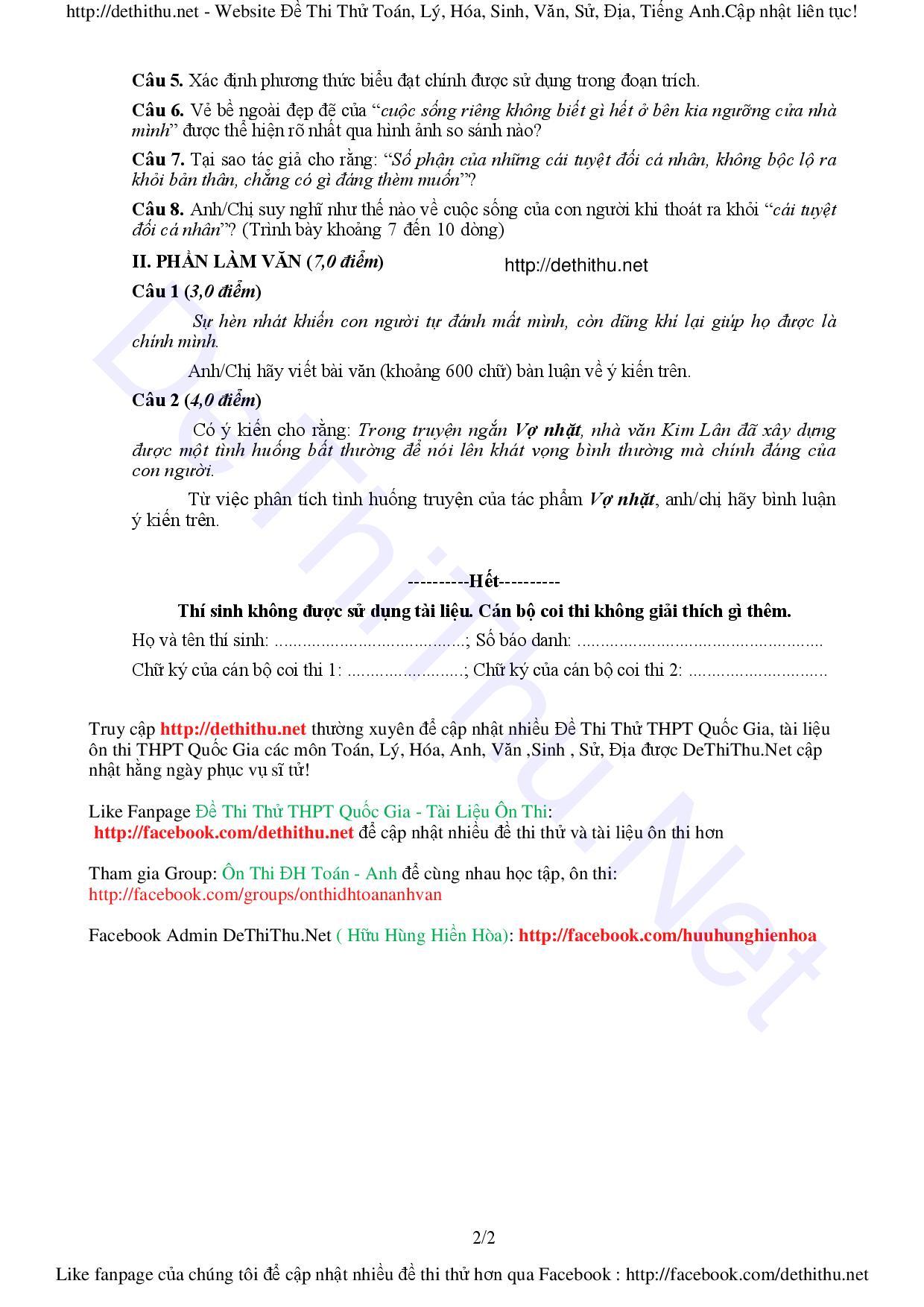 Đề và đáp án môn Văn THPT Quốc gia 2016 chính thức